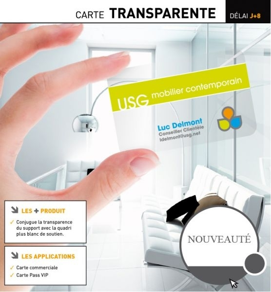 Photo N1 Carte De Visite PVC Transparente