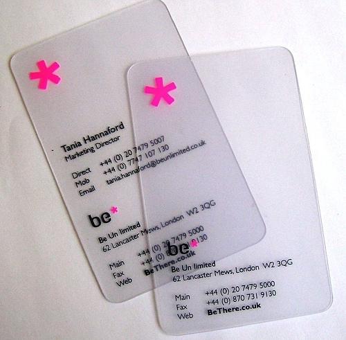 REF Com5 Carte De Visite PVC Transparente