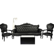 location de chaise voltaire armchair noire sur location de mobilier et. Black Bedroom Furniture Sets. Home Design Ideas