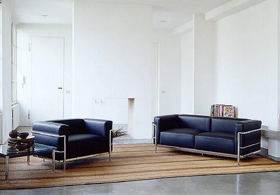 Location de canap lc3 grand sofa 3 places cuir noir - Canape le corbusier lc3 ...