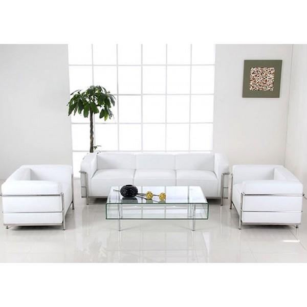 location de fauteuil lc3 cuir blanc et chrome sur i livraison france et belgique. Black Bedroom Furniture Sets. Home Design Ideas
